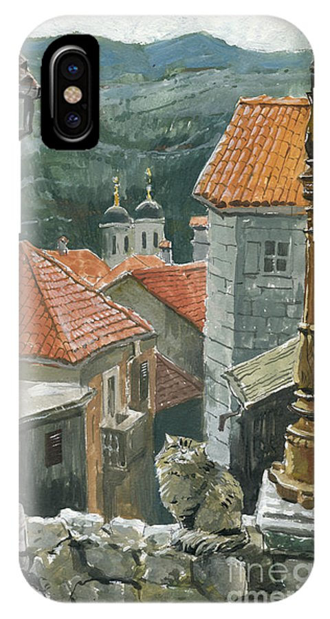 Montenegro IPhone X Case featuring the painting Cat Of The Town Of Kotor by Sakurov Igor