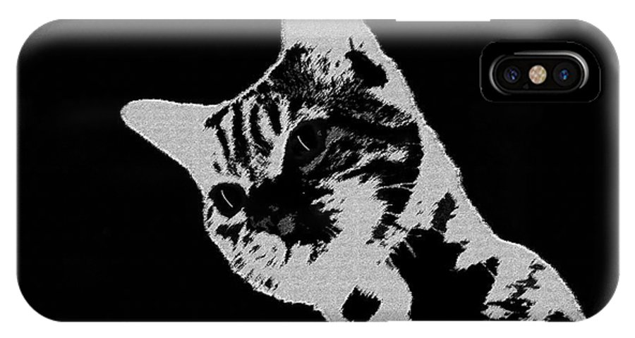 Art IPhone X Case featuring the painting Cat On A Hot Tin Roof by David Lee Thompson