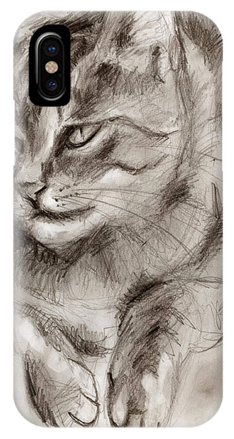 Cat Drawing IPhone X Case featuring the drawing Cat Study Drawing No One by Hiroko Sakai
