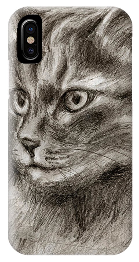 Cat Drawing IPhone X Case featuring the drawing Cat Study Drawing No Two by Hiroko Sakai