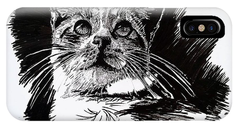Ink IPhone X / XS Case featuring the drawing Cat With Ink by Kirsten Slaney