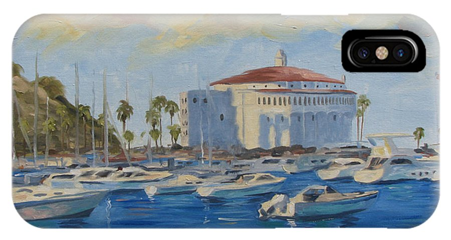 California IPhone X Case featuring the painting Catallina Casino by Jay Johnson