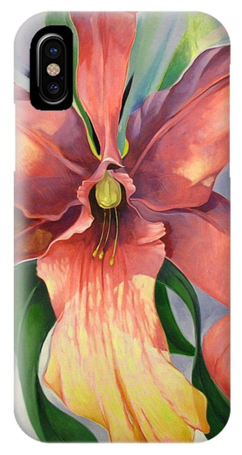 Catalya IPhone X Case featuring the painting Catalya Orchid by Jerrold Carton