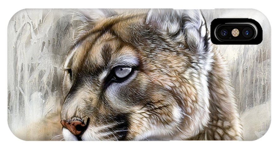 Acrylic IPhone Case featuring the painting Catamount by Sandi Baker