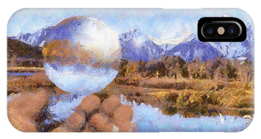 Landscape IPhone X Case featuring the painting Catching A Bubble by Anthony Caruso