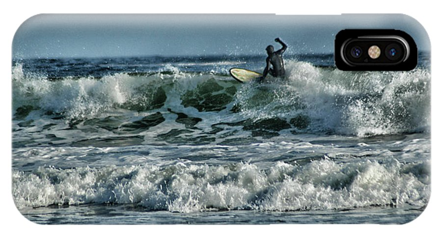 Action IPhone X Case featuring the photograph Catching A Wave by Mike Martin