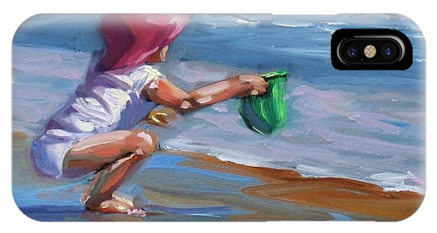Seascape IPhone X Case featuring the painting Catching The Wave by Laura Lee Zanghetti