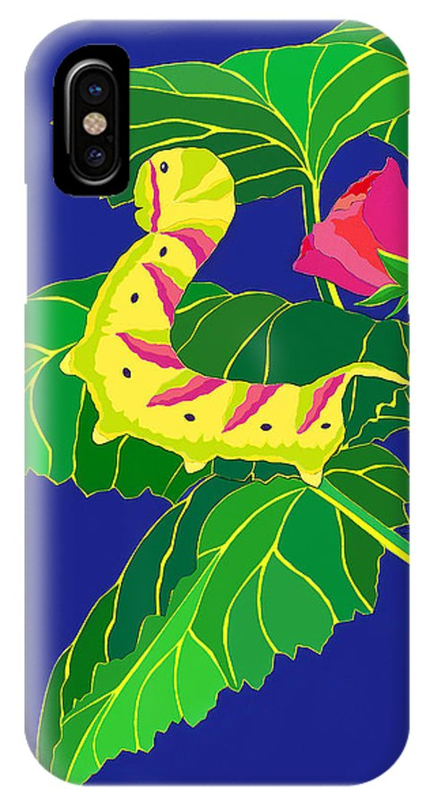 Nature IPhone Case featuring the drawing Caterpillar by Lucyna A M Green