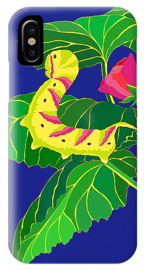 Nature IPhone X Case featuring the drawing Caterpillar by Lucyna A M Green