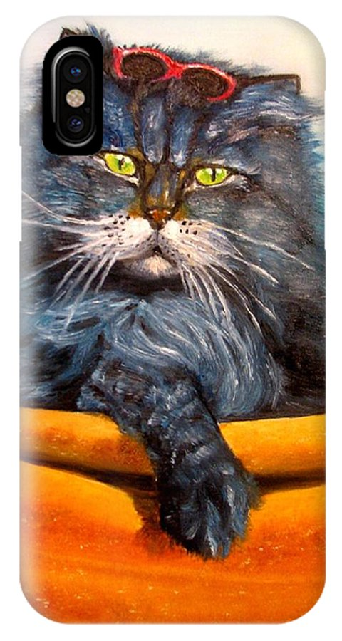 Cat IPhone X Case featuring the painting Cat.go To Swim.original Oil Painting by Natalja Picugina