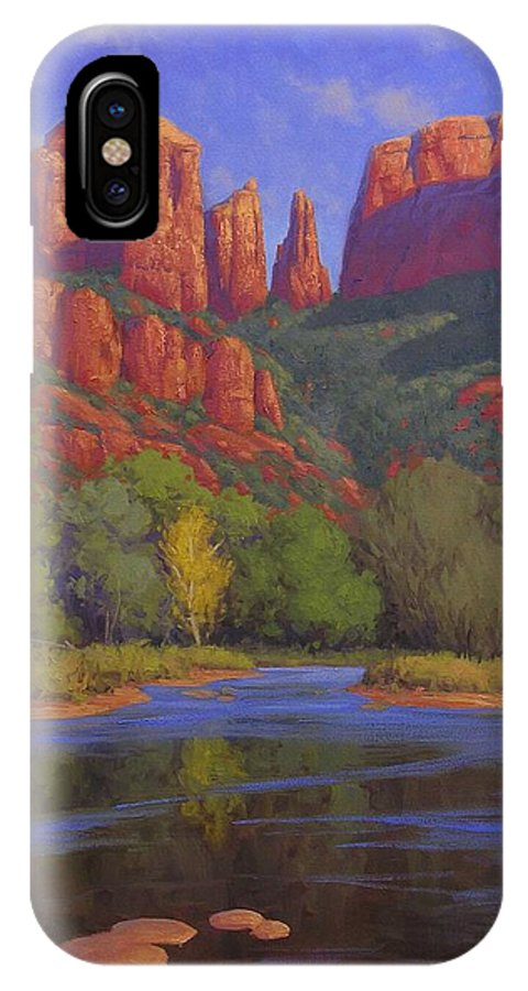 Sedona IPhone X Case featuring the painting Cathedral Morning by Cody DeLong