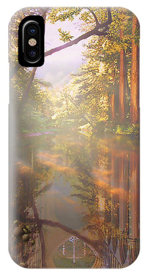 Cathedral IPhone X Case featuring the painting Cathedral Redwoods by Robby Donaghey