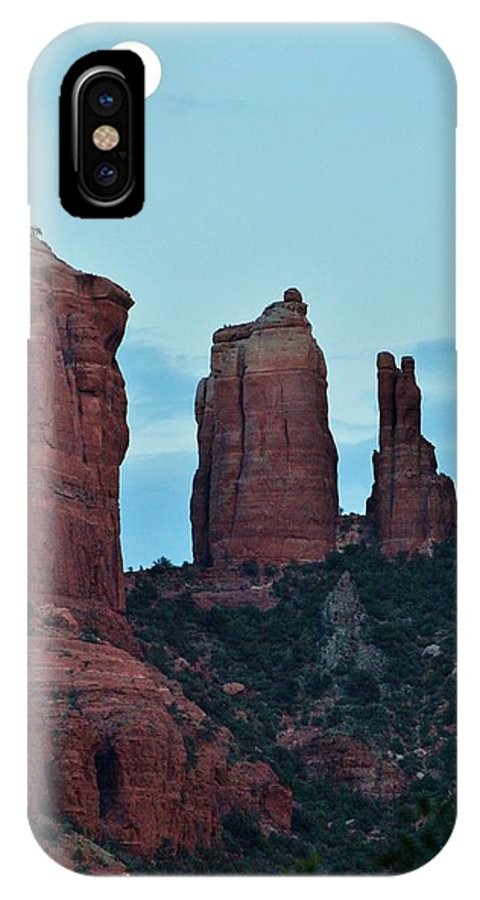 Cathedral Rock IPhone X Case featuring the photograph Cathedral Rock Moon 081913 H by Edward Dobosh