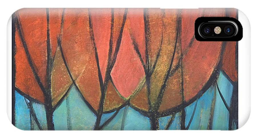 Trees IPhone X Case featuring the painting Cathedral by Tim Nyberg
