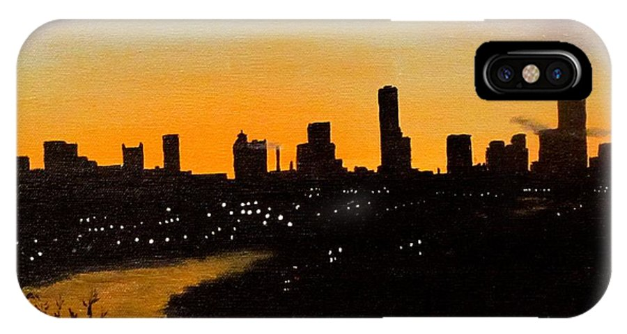 Cityscape IPhone X Case featuring the painting Catherine's Sunrise by Jack Skinner