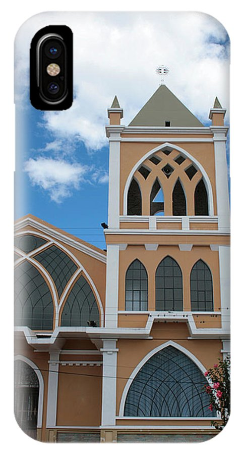 Door IPhone X / XS Case featuring the photograph Catholic Church In Ibarra by Robert Hamm