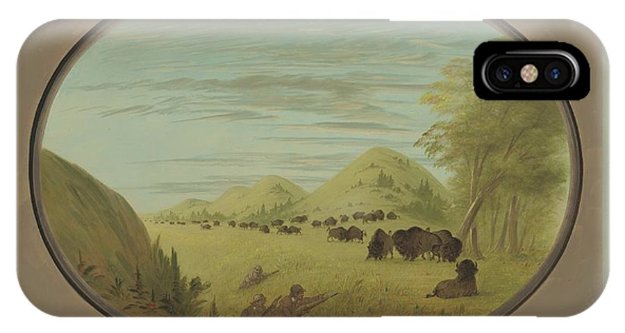 IPhone X Case featuring the painting Catlin And Two Companions Shooting Buffalo by George Catlin