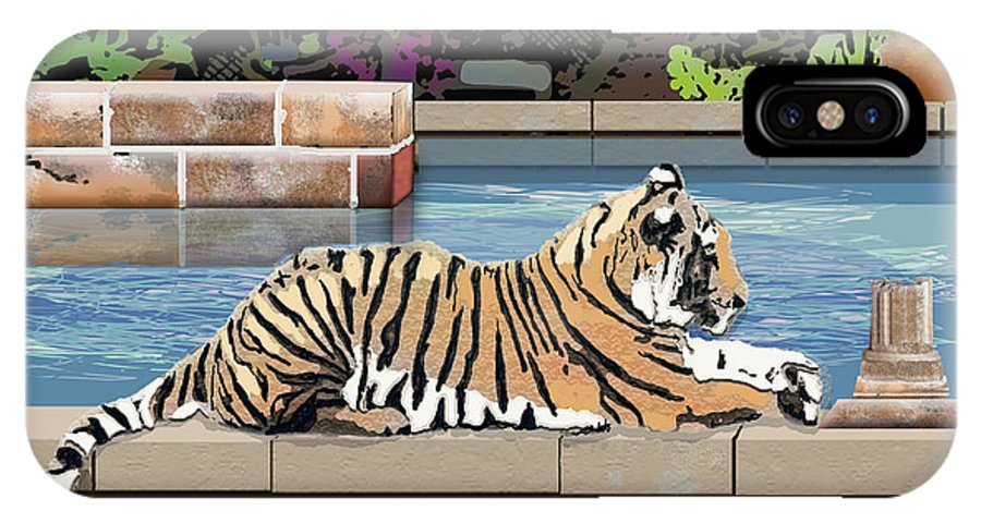 Tiger IPhone Case featuring the digital art Catnap by Arline Wagner