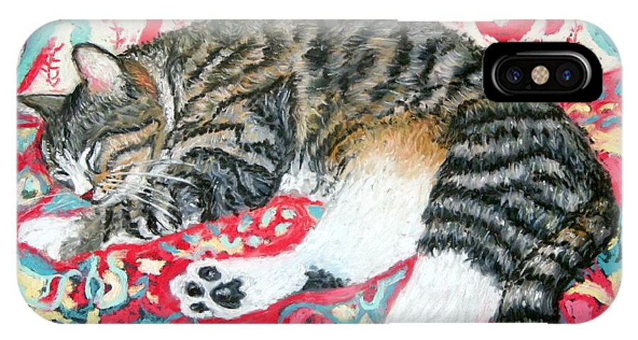 Cat IPhone X Case featuring the painting Catnap Time by Minaz Jantz