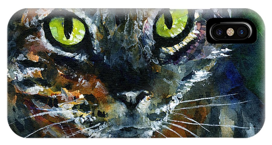 Eyes IPhone X Case featuring the painting Cats Eyes 16 by John D Benson