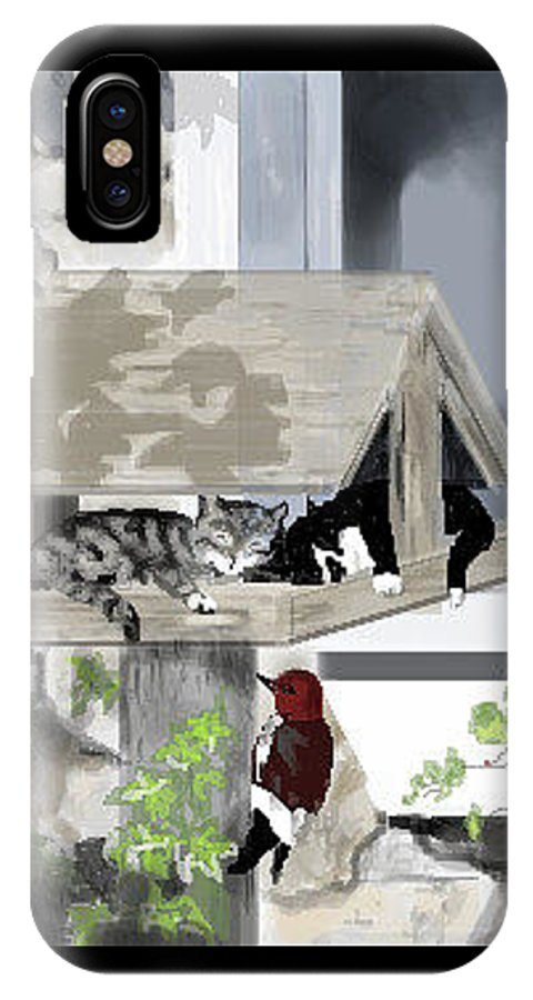 Kittens IPhone X / XS Case featuring the digital art Cats In A Bird Feeder by Lori Wadleigh
