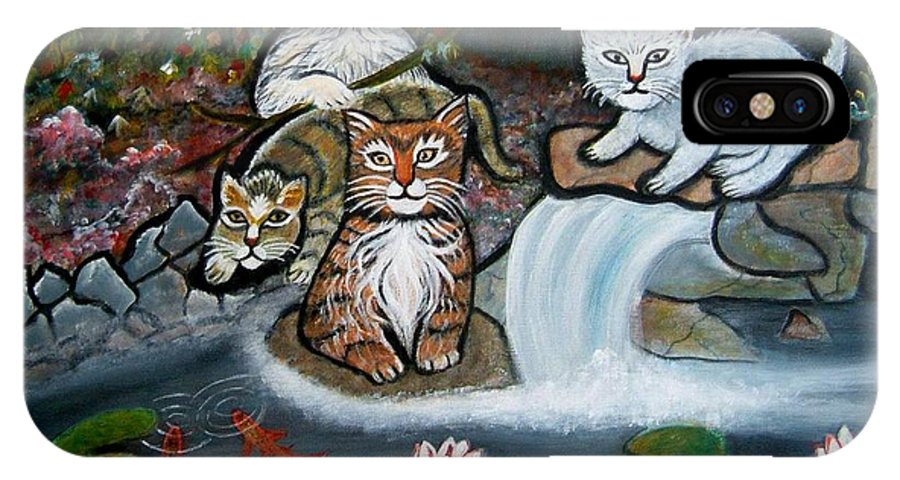 Acrylic Art Landscape Cats Animals Figurative Waterfall Fish Trees IPhone Case featuring the painting Cats In The Wild by Manjiri Kanvinde