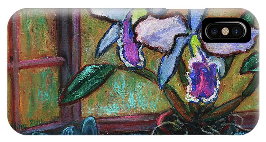 Flowers IPhone X Case featuring the painting Cattleya Orchid And Frog By The Window by Xueling Zou