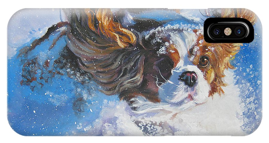 Dog IPhone X Case featuring the painting Cavalier King Charles Spaniel Blenheim In Snow by Lee Ann Shepard
