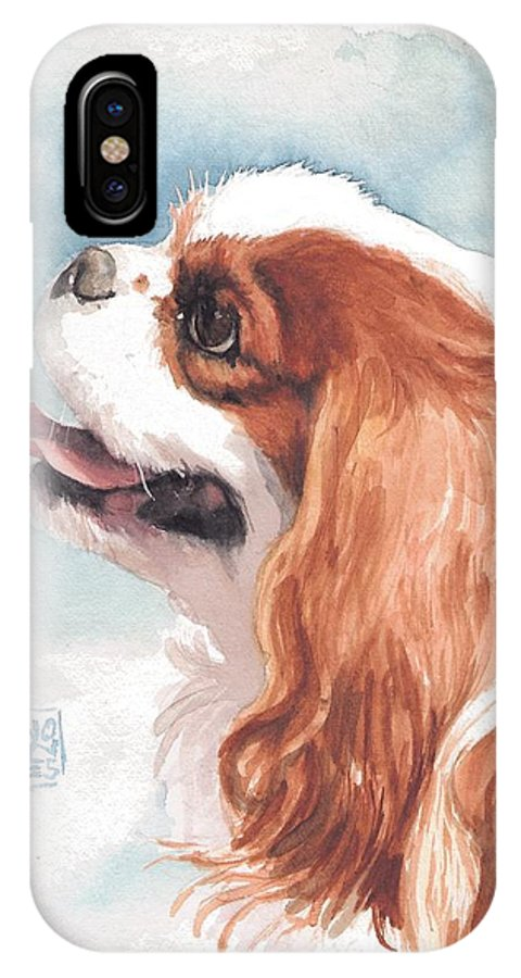 Cavalier King Charles Spaniel IPhone X Case featuring the painting Cavalier Profile by Debra Jones