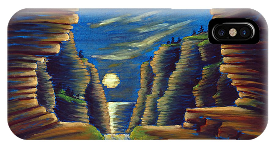 Cave IPhone Case featuring the painting Cave With Cliffs by Jennifer McDuffie