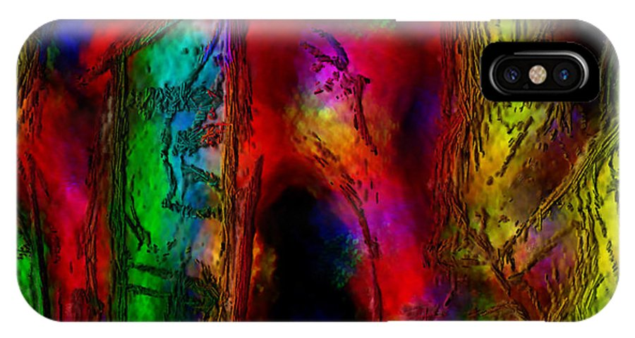Abstract IPhone X / XS Case featuring the painting Caverns Of The Mind by Dee Flouton