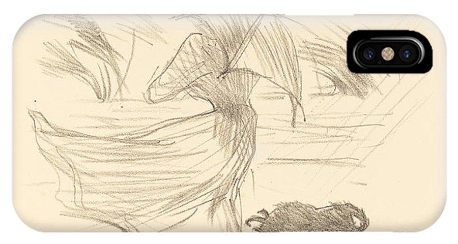 IPhone X Case featuring the drawing Ce Que Dit La Pluie by Henri De Toulouse-lautrec