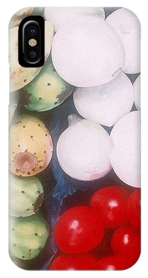 Hyperrealism IPhone X Case featuring the painting Cebollas Tunas Y Tomates by Michael Earney
