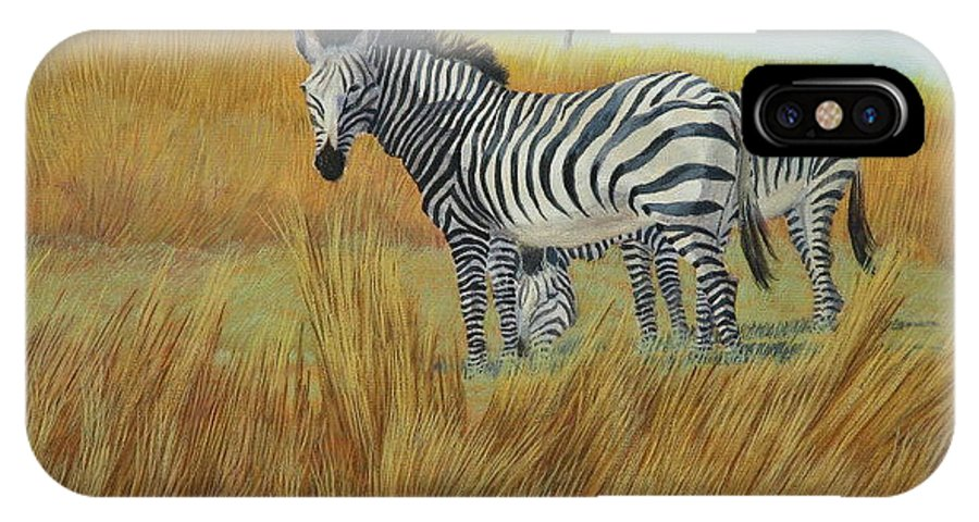 Bushes IPhone Case featuring the painting Cebras In Rhino Park by Juan Enrique Marquez