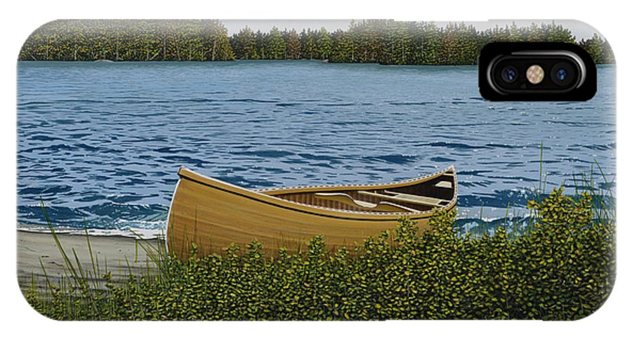 Landscapes IPhone X Case featuring the painting Cedar Canoe by Kenneth M Kirsch