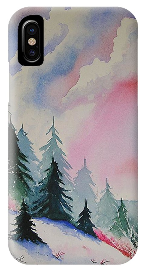 Snow IPhone X Case featuring the painting Cedar Fork Snow by Karen Stark