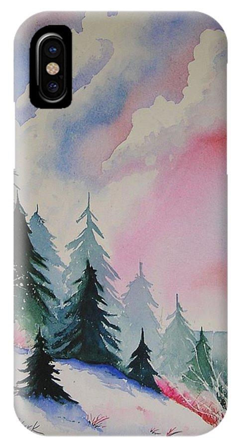 Snow IPhone X Case featuring the painting Cedar Fork Snow by Karen Stark