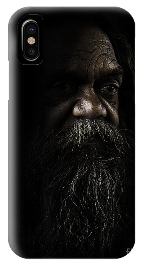 Fullblood Aborigine IPhone X Case featuring the photograph Cedric In Shadows by Sheila Smart Fine Art Photography