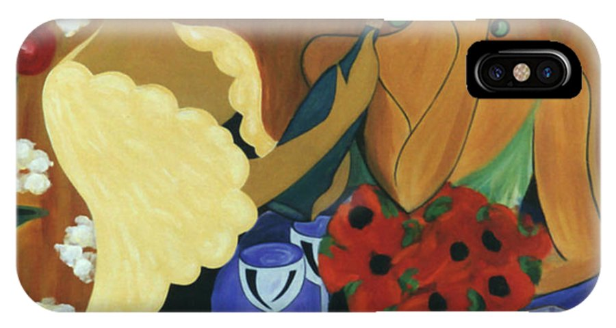 #female IPhone X Case featuring the painting Celebration by Jacquelinemari