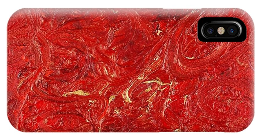 Red IPhone X Case featuring the painting Celebration by Nadine Rippelmeyer