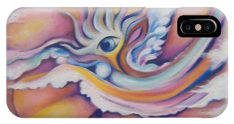 Surreal Artwork IPhone X Case featuring the painting Celestial Eye by Jordana Sands
