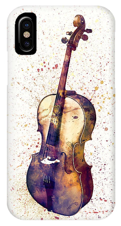 Cello IPhone X Case featuring the digital art Cello Abstract Watercolor by Michael Tompsett