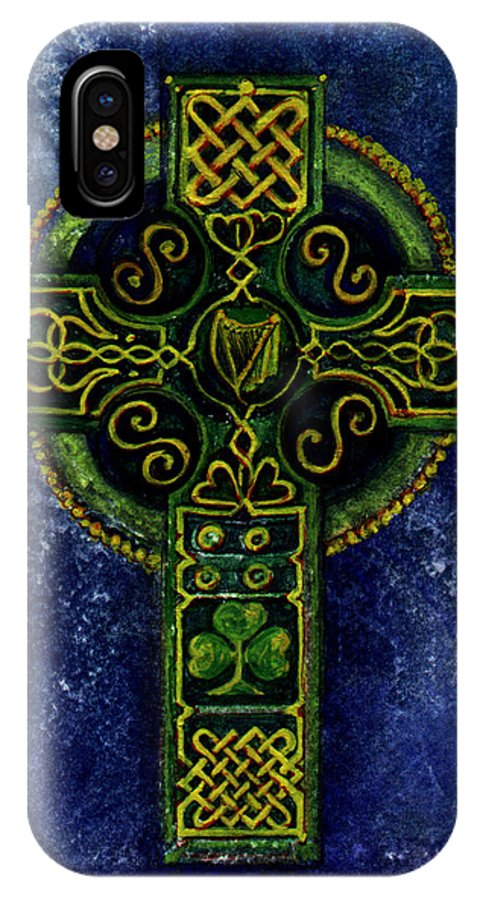 Elle Fagan IPhone X Case featuring the painting Celtic Cross - Harp by Elle Smith Fagan