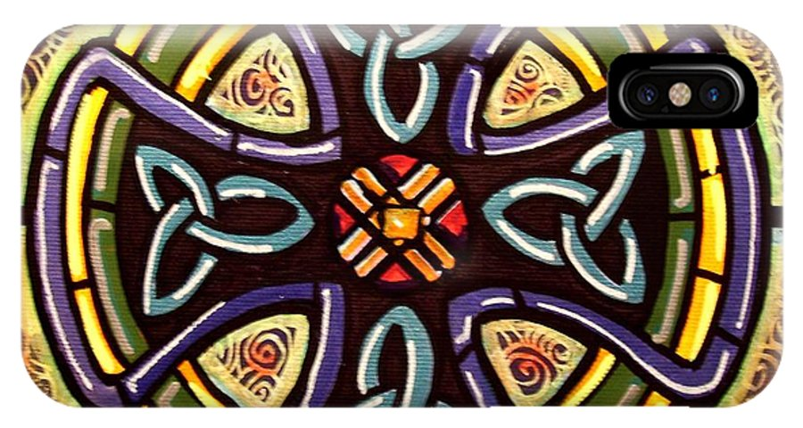Celtic IPhone X Case featuring the painting Celtic Cross 2 by Jim Harris