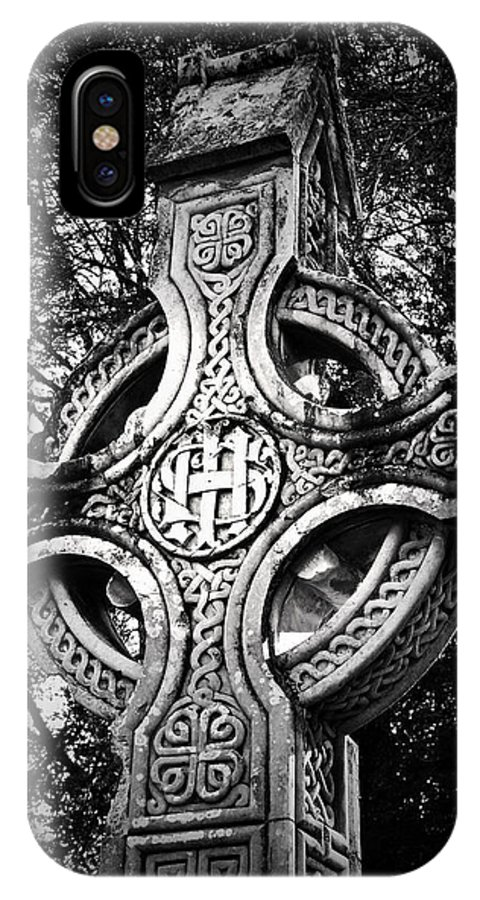 Irish IPhone X Case featuring the photograph Celtic Cross Detail Killarney Ireland by Teresa Mucha
