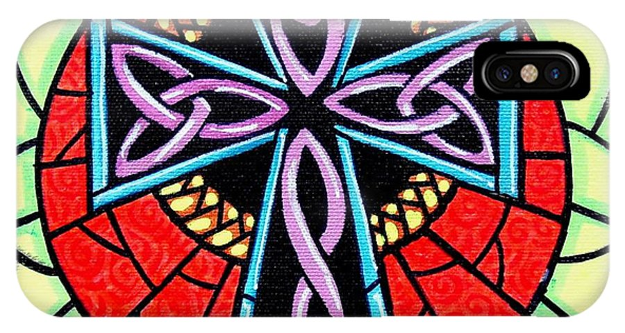 Celtic IPhone X Case featuring the painting Celtic Cross by Jim Harris