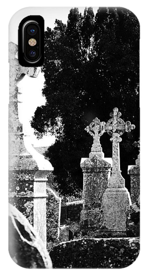 Celtic IPhone X Case featuring the photograph Celtic Crosses At Fuerty Cemetery Roscommon Ireland by Teresa Mucha