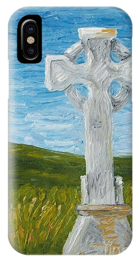 Cross IPhone X Case featuring the photograph Celtic High Cross by Karen Desrosiers