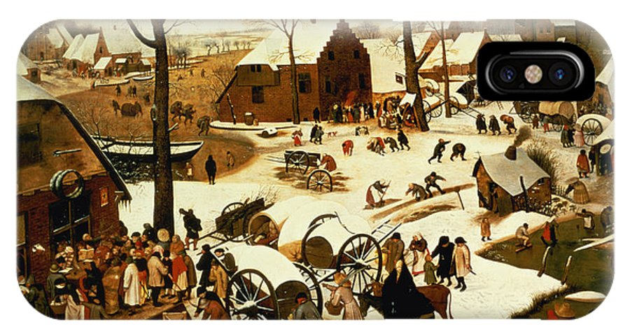 Census IPhone X Case featuring the painting Census At Bethlehem by Pieter the Elder Bruegel