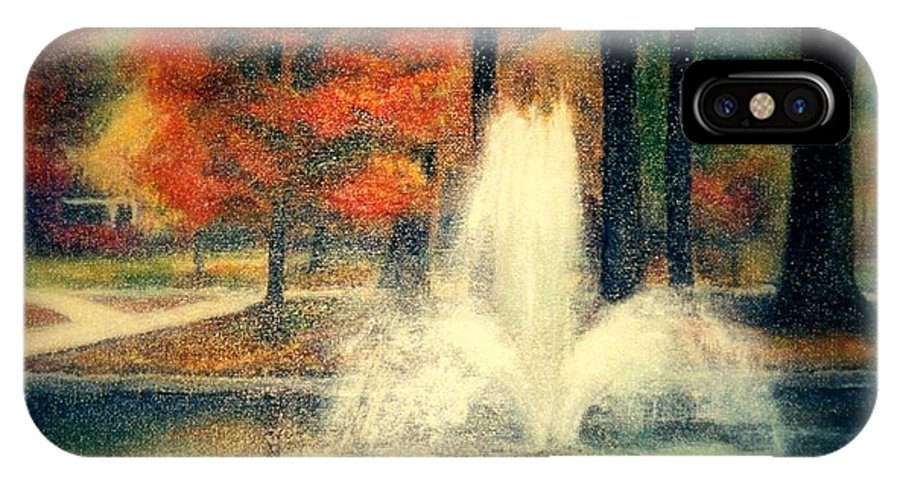 Pond IPhone X Case featuring the painting Central Park In Autumn by Gail Kirtz
